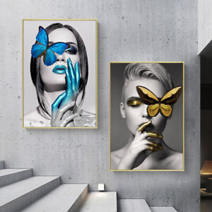 Butterfly Girl Abstract Poster Print Canvas Fashion Artwork Wall Art Painting