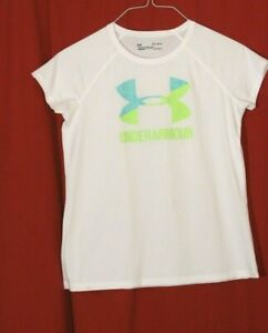 Under Armour Girls Shirt White Short Sleeve YLG Youth Large Loose Heat Gear $14.00