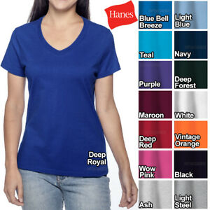 Hanes Ladies V Neck T Shirt 100% Cotton Nano Tee Top XS 2XL Womens Tee NEW