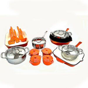 Le Chef 26-Piece Enameled Cast Iron Cookware Set (Multi-colored, OR 158).