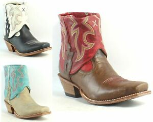 Twisted X Womens Steppin' Out Cuff Leather Cowboy, Western Ankle Boots $49.99