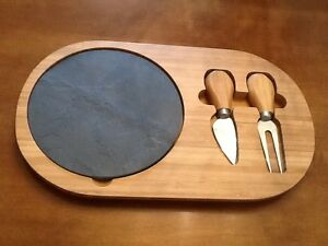 NEW IN BOX, Cheese Serving Tray, Slate Center, Cocktail Knife and Fork