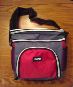 Lunch Bag Insulated Soft Red/Black/Gray School Work Travel 3 Compartments