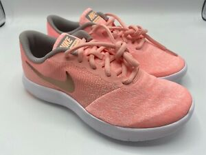 Nike Youth Size 6Y Flex Contact Running Shoes Pink Tint Metallic Gold 917937 600 $23.97