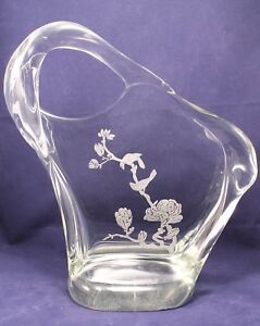 LARGE CRYSTAL ART GLASS SCULPTURE OF FROSTED BIRDS ON BRANCH FLOWERS 13.5