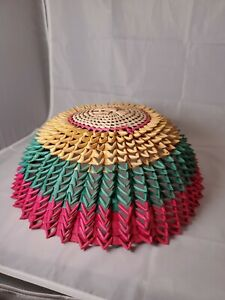 Vintage Woven Wood and Wicker Rattan Basket Dome Food Cover Cloche Boho Wall Art