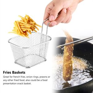Stainless Steel Chips Deep Fry Baskets Food Presentation Strainer Potato Cooking