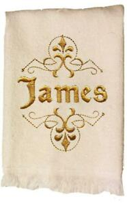 Mens White Personalized Embroidered Cotton Terry Hand Towel