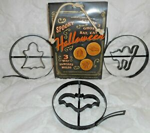 WILLIAMS SONOMA SPOOKY HALLOWEEN PANCAKE MOLDS SET OF THREE GHOST BAT
