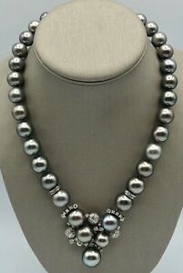 New 18k Solid White Gold Tahitian Pearl 10.7-14 mm Genuine Diamond Necklace