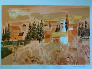 Georges Lambert (French 1919-1998) Pencil Signed Abstract Landscape Lithograph