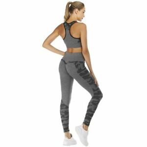 Women Yoga Camouflage Set Fitness Vest Top Workout Tight Leggings Sportswear New