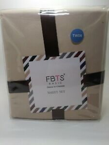 NEW FBTS Basic Twin Bed Sheets 3 Pc 1800 Series  Beige Deep Pocket Hypoallergeni