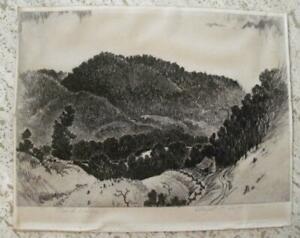 LLOYD C. FOLTZ 1897-1990 ETCHING PENCIL SIGNED TITLED OZARK VALLEY 7.5 X 10
