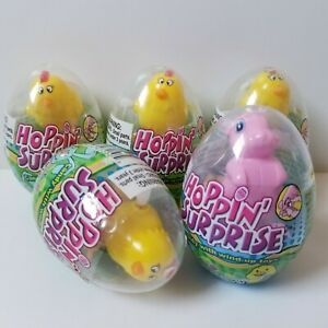 5 Hoppin' Surprise Easter Candy Eggs W/ Wind-Up Toy Pink Bunny Chicks BB 11/2021