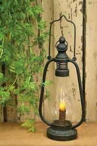 Primitive Farmhouse Black Metal Lantern with LED Timer Candle Rustic Distressed $37.95