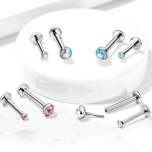 2PC 20G 16G MICRO CRYSTAL PUSH TOP STEEL LABRET MONROE NOSE RING PIERCING STUDS
