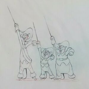 Three Blind Mouseketeers Animation Original Drawing (Walt Disney 1936) $220.00