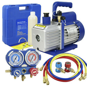 35CFM 14HP Air Vacuum Pump HVAC & R134A Kit AC AC Manifold Gauge Set $96.73