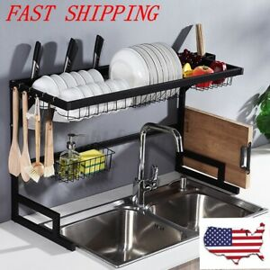 Over Sink Drain Rack Stainless Steel Shelves Dish Cutlery Kitchen Drying Drainer