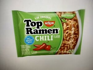 NISSIN TOP RAMEN NOODLE SOUP CHILI FLAVOR 3OZ PACKAGES. 12 PACK $10.99