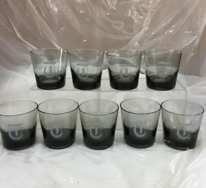 9 Smoky Gray On The Rocks 1970's Monogrammed T Drinking Glasses Vintage Barware