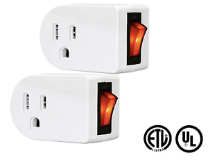 2 Grounded Outlet Adapter w/ Red Indicator On/Off Switch (ETL UL CSA Listed)