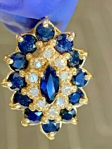 14k YELLOW gold genuine BLUE SAPPHIRE AND DIAMOND pendant ESTATE