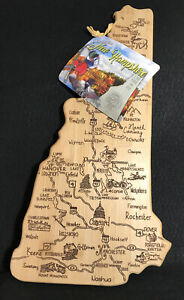 Wood Cutting & Serving Board Laser Burned New Hampshire State Shaped Map Bamboo