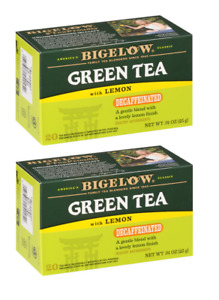 Bigelow Green Tea with Lemon Decaffeinated Decaf 2 Boxes 40 Tea Bags