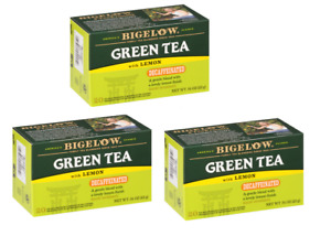Bigelow Green Tea with Lemon Decaffeinated Decaf 3 Boxes 60 Tea Bags