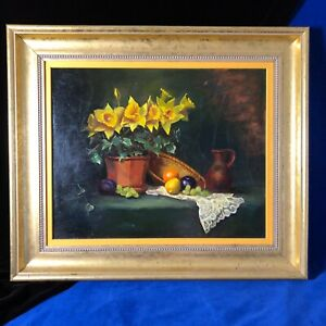Daffodil and Lace Painting Oil Framed Artist Esther Glazer 1998 $395.00
