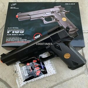 FULL SIZE SPRING AIRSOFT GUN PISTOL WITH FREE 1000 BB#x27;S 1911 GIFT BOX $14.99