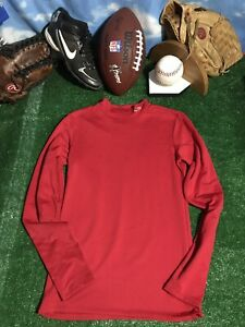 Youth polyester champion red Long sleeve Shirt T Shirt dri fit C27 $8.72