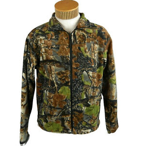 Cabela#x27;s Camo Fleece Jacket Full Zip with Zip Close Pockets Men#x27;s Medium EUC