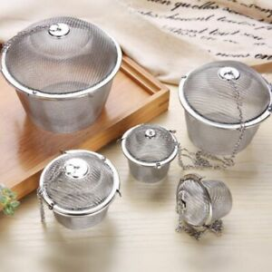 Stainless Steel Tea Ball Spice Herbal Strainer Mesh Infuser Filter Bag 5 Sizes