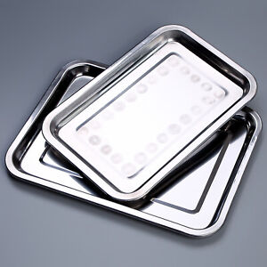 Stainless Steel Serving Tray Food Platter Salver Silver Effect Polished Dinner
