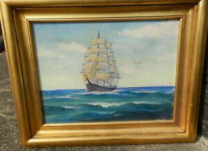 VINTAGE ORIGINAL SEASCAPE OIL PAINTING SHIP IN OCEAN EXCELLENT CONDITION SIGNED $450.00