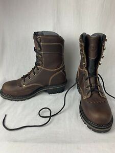 Georgia Men#x27;s GB0237 Waterproof Brown Leather Lace Logger Work Boots 9M