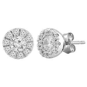 Diamond Designs ERG579 14K White .50CTW Diamond Halo Stud Earrings