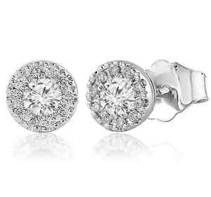 Diamond Designs ERG580 14K White .75CTW Diamond Halo Stud Earrings