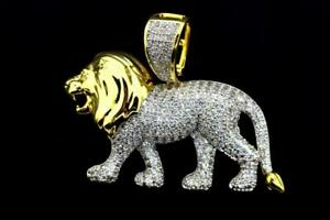 14K Gold Plated Hip Hop Mens Fashion Dominant Lion ICED Bling Pendant Charm $19.99