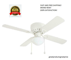 Harbor Breeze 42 in WHITE Flush Mount Indoor Ceiling Fan with Light Kit ARMITAGE $36.85