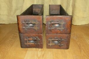 4 Antique Wooden Sewing Machine Drawers Wooden Detailed Handle Pulls #1297 $85.00