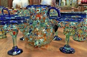 MEXICAN GLASSWARE - MULTI SWIRLED PITCHER & 6 GLASSES (12 oz) ***FREE FREIGHT***