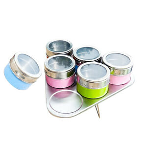 6Pcs Spice Jar Condiment Storage Seasoning Salt Bottle Container Barbecue Can