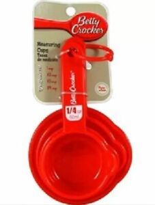 Betty Crocker Nesting Measuring Cup Set 1 4 1 3 1 2 amp; 1 Cup Red Free Ship New