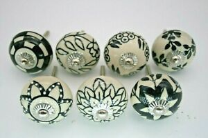 Lot of 7 Ceramic Cabinet Knobs Pulls Drawer Door Handles Hand Painted Blue