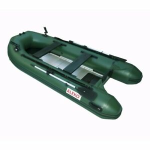 ALEKO Inflatable Fishing Boat 10.5 Feet with Aluminum Floor Green Color