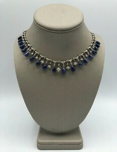 New 750 18k White Gold Swag Design Necklace Drops Natural Blue Sapphire Diamond